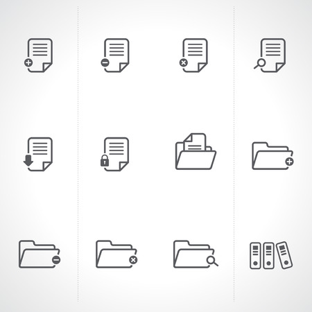 file transfer: Documents Icons and Folder icons set Vector