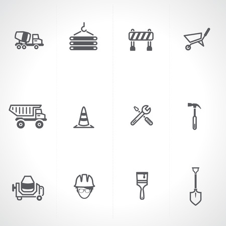 construction dozer: Construction icon set
