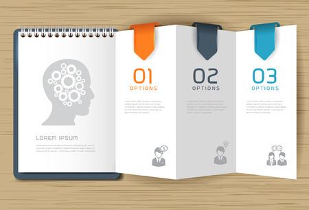 computer graphics: Paso por el pensamiento positivo con papel, Creative doblado de papel ilustraci�n moderna plantilla de dise�o vectorial Vectores