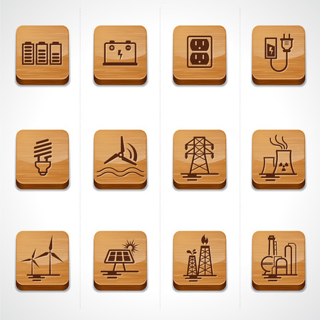 electric grid: Wood icon button set energy, electricity, power