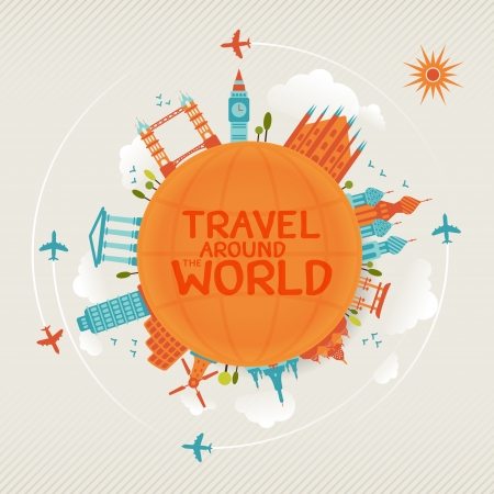 vector illustration of travel famous monuments around world with plane, sun and clouds   Иллюстрация