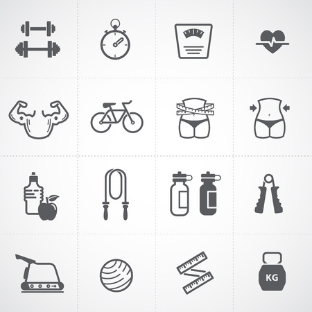 muscle woman: Fitness and Health icons set