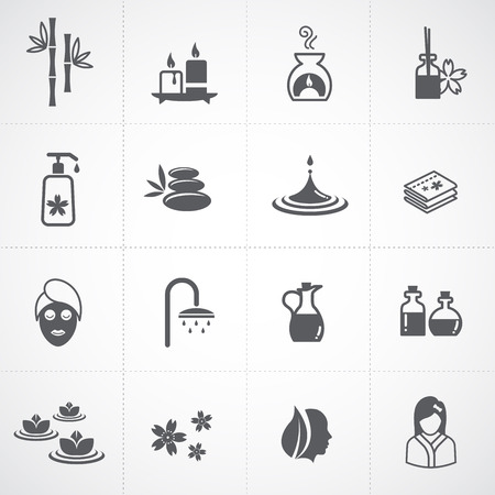 alternative wellness: Spa icons set