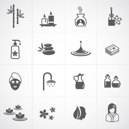 steine im wasser: Spa-Icons Illustration