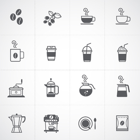 coffee beans: coffee icons set vector  Illustration