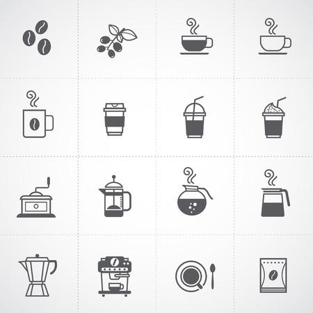 semilla de cafe: iconos de café conjunto de vectores Vectores