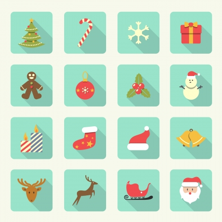Set of Christmas Flat Icons with long shadow  Vector