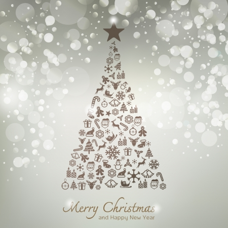 Christmas icons in pine tree shape greeting card background  Vector