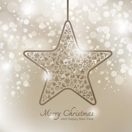 Christmas icons in star shape greeting card background Vector