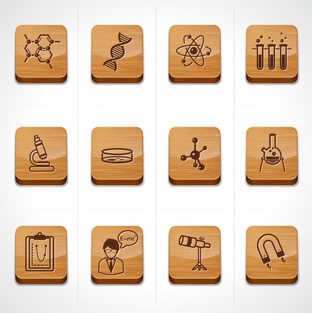 technology symbols metaphors: wood texture button science icon set  Illustration