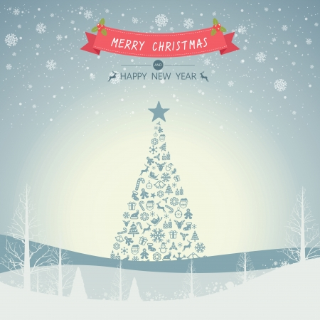 Merry Christmas Landscape and Christmas tree with snowflake and place for text  Vector