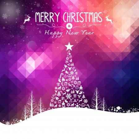 nieuwjaar: Kerstmis en Gelukkig Wenskaart nieuwe jaar Vrolijk kerstfeest
