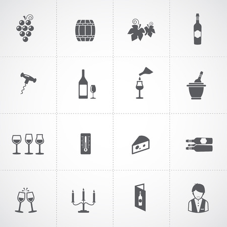 food and wine: Wine icons set - glass, bottle, restaurant