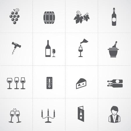wine tasting: Wine icons set - glass, bottle, restaurant