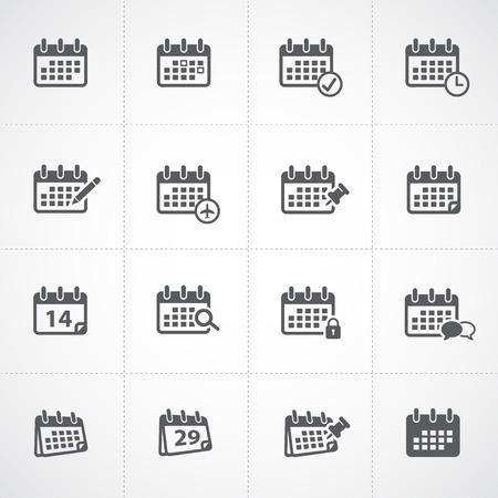 カレンダーのアイコンを設定  イラスト・ベクター素材