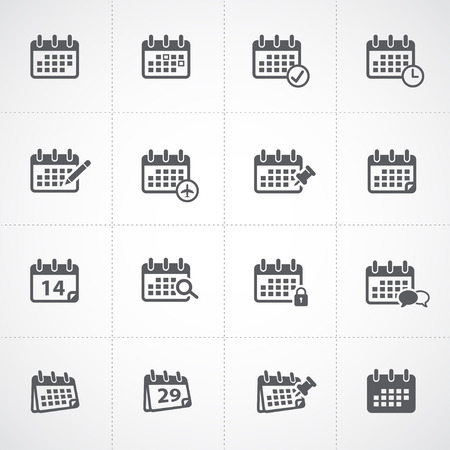 kalendarium: Kalendarz icon set Ilustracja
