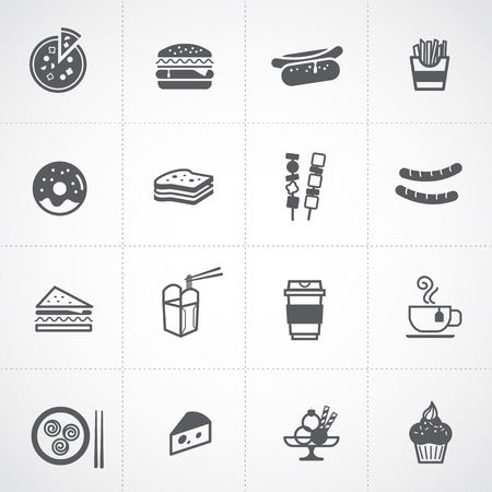 chinese takeout box: Fast Food Icon set