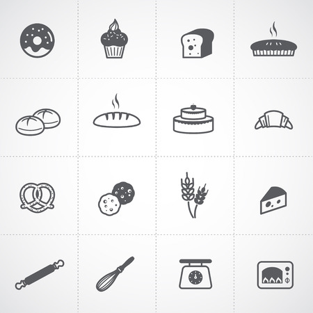 loaf of bread: Bakery icons set Illustration