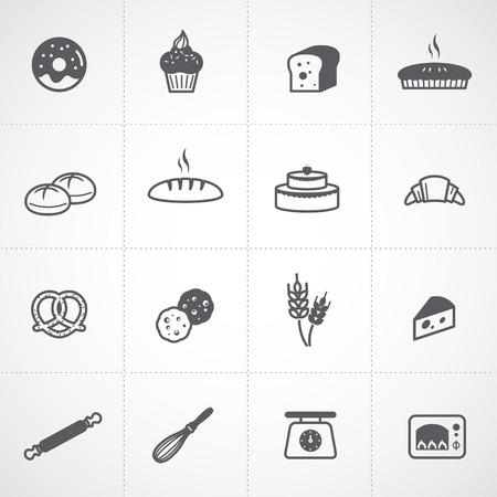 kneading: Icone Bakery set Vettoriali