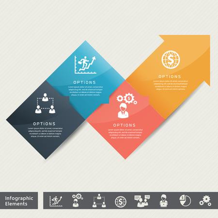Estrategia para el éxito de la ilustración de concepto del asunto Vector Infografía