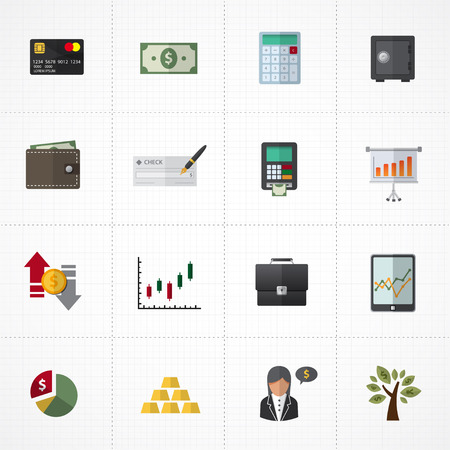Finance Icons and banking icons set Vector