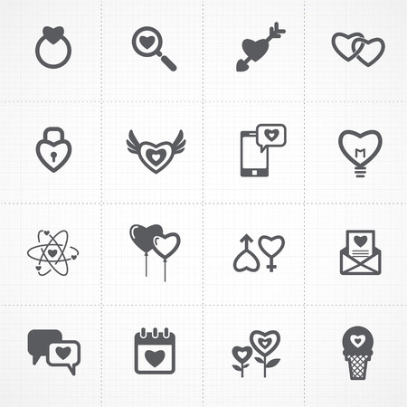 valentines day icons and love icons set Vector