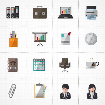 printing icon: Office icons set Illustration