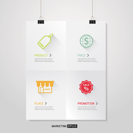 marketing mix: Vector Poster template of a paper sheet with 4 P Marketing Mix Business concept
