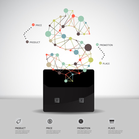 4p: Business Concept dollar symbol Modern Design light dot Minimal style infographic template