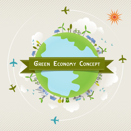 world economy: environmentally friendly planet ecology concept infographic modern design. icon and sign. Illustration