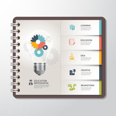 Educación Plantilla infografía con Luz bandera engranaje bombillas en el libro de papel Vectores