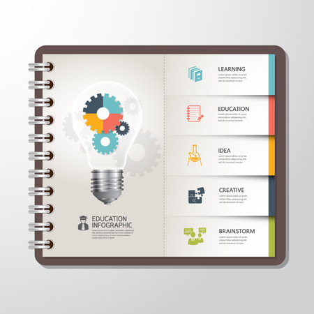 Education infographic Template with Light bulbs gear banner on paper book Vector