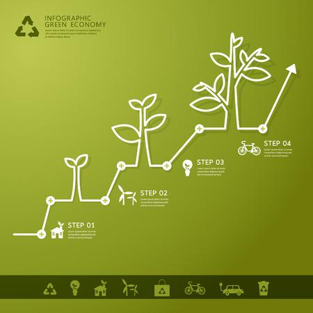녹색 경제 개념 - Leafs 및 나무 infogaphics 일러스트