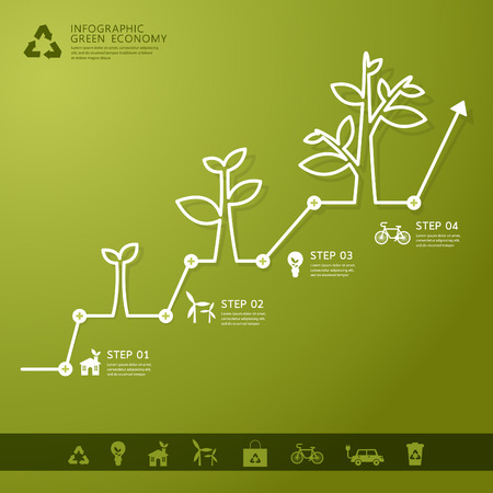 accounting design: Green economy concept - Leafs and tree infogaphics
