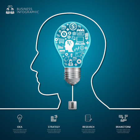 graphic backgrounds: Creative success light bulb abstract infographic modern design. Cable with plug and an bulb form a profile of the person. thinking. Illustration