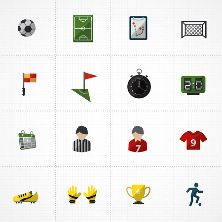 goal cage: Soccer and football Icons set Illustration