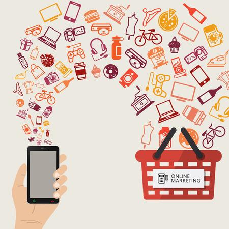인터넷, 모바일 쇼핑 통신 및 배달 서비스를 통해 제품을 구매 인포 그래픽 개념. 온라인 주문. 일러스트