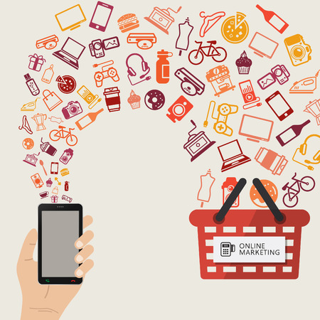 negozio: concetto infografica di acquisto di prodotti via internet, comunicazione mobile shopping e il servizio di consegna. Acquista online.