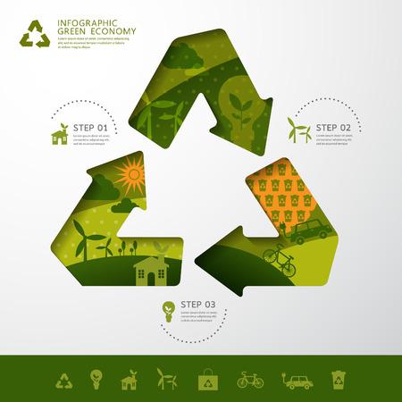 reciclar: Vector concepto de la ecolog�a reciclar dise�o moderno infograf�a. icono y firmar. Vectores