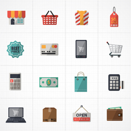 cash dispense: flat icons vector collection with colors of supermarket services, Shopping online Icons set. Illustration