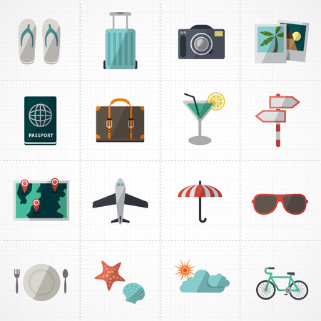 flat icons vector collection with colors of traveling, tourism and vacation theme. Isolated on white background.