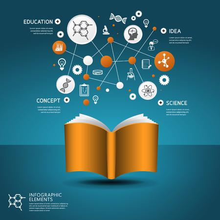 qu�mica: Concepto de la educaci�n la ciencia plantilla de dise�o para la infograf�a Vectores