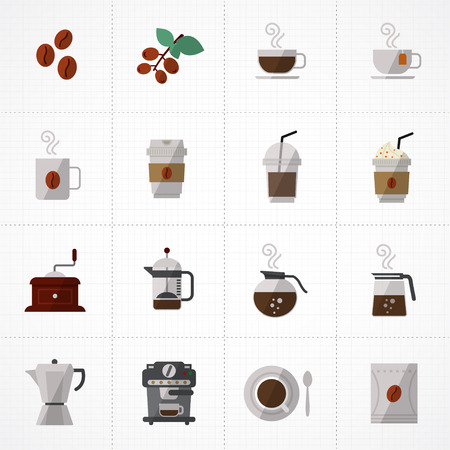 disposable: flat icons vector collection with colors of coffee icons set vector