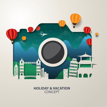 illustration journey: Infographics camera Travel and Vacation concept elements.