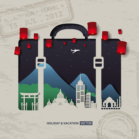 thailand symbol: Infographics luggage bag Travel and Vacation concept elements. Illustration
