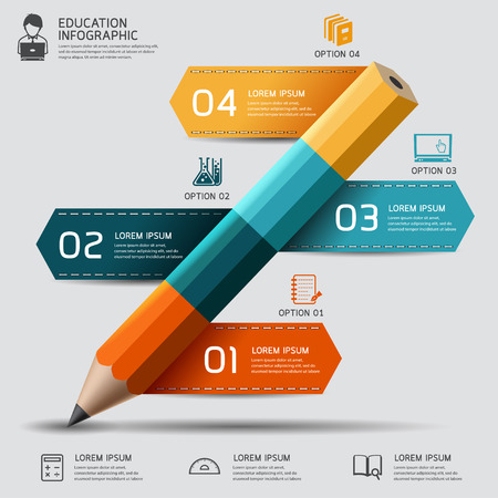 Education pencil Infographics step option. Vector illustration. can be used for workflow layout, banner, diagram, number options, step up options, web design. Ilustração