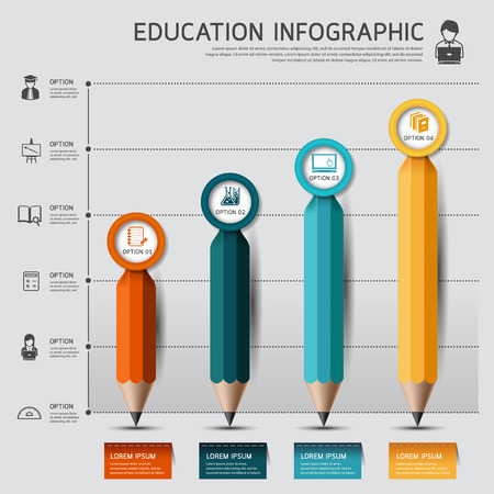 Education pencil Infographics graph and diagram option. Vector illustration. can be used for workflow layout, banner, diagram, number options, step up options, web design. Иллюстрация