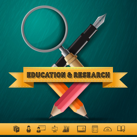 research paper: Education and Research concept infographic Design template Colorful pencil crayons and pen and magnifier with ribbon, vector illustration.