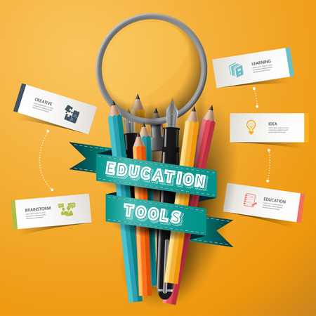 conceptual bulb: infographic Design template Colorful pencil crayons and pen and magnifier with ribbon, vector illustration.