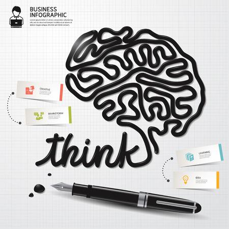 pensando: Plantilla de dise�o de estilo minimalista Infograf�a Tinta negocios en forma el cerebro pensando en el papel. Ilustraci�n del vector. Vectores